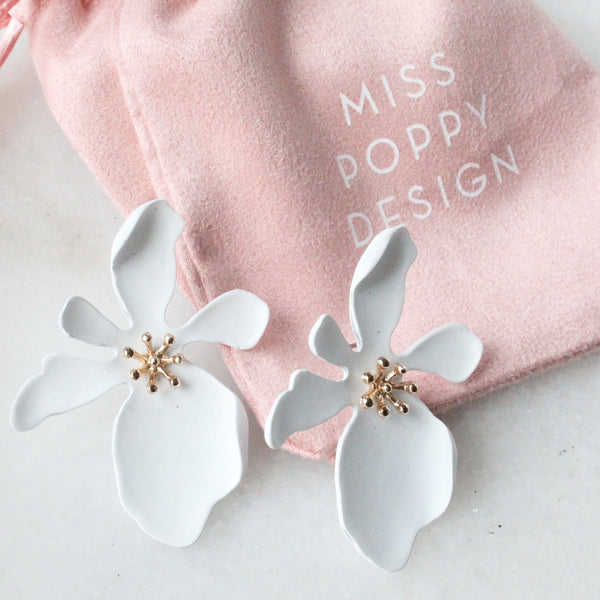 Blushing Beauty Earrings White