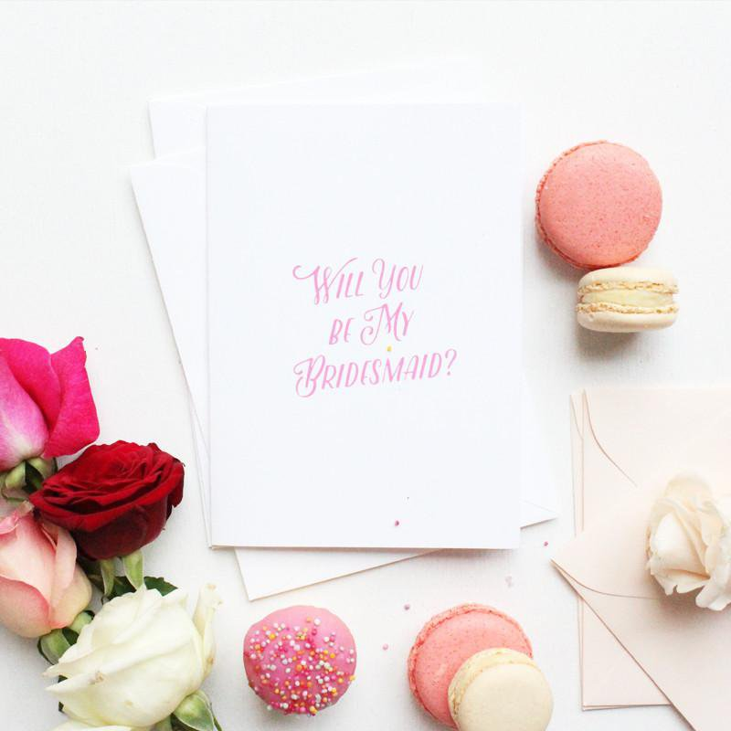 WILL YOU BE MY BRIDESMAID- CARD SET- PINK