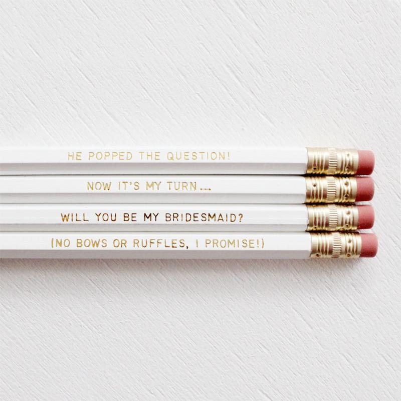 BRIDESMAIDS PENCIL SET- WHITE - Miss Poppy Design