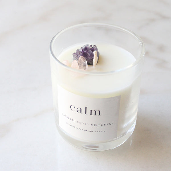 CALM - Rose quartz and amethyst infused candle
