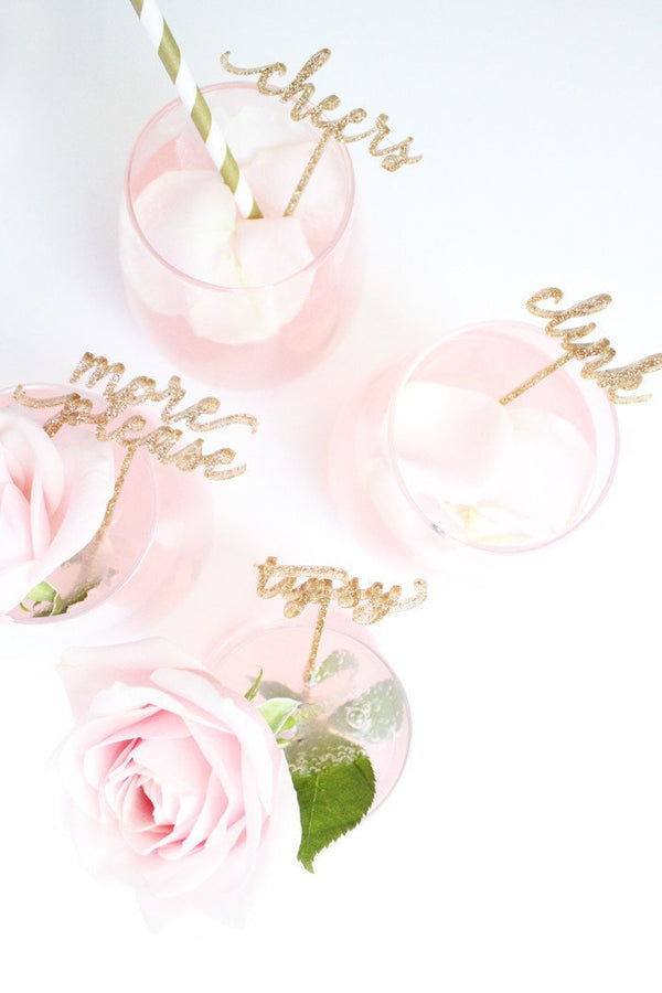 Celebrate - Cocktail Stirrers - Glitter - Miss Poppy Design