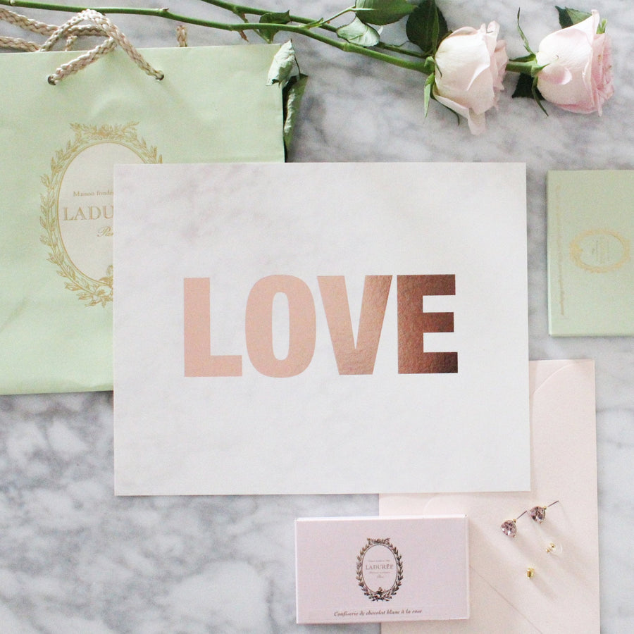 LOVE- ROSE GOLD AND MARBLE FOIL PRINT - Miss Poppy Design