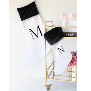 Personalised Christmas Stocking - Initial - Deluxe Size - Miss Poppy Design