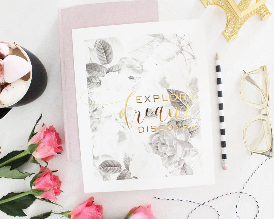 EXPLORE DREAM DISCOVER GOLD FOIL PRINT - Miss Poppy Design