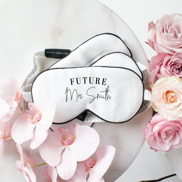 Future Mrs Personalised Silk Eye Mask - Miss Poppy Design