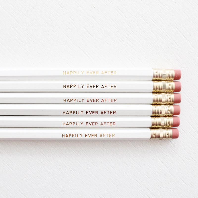 HAPPILY EVER AFTER PENCIL SET- WHITE - Miss Poppy Design