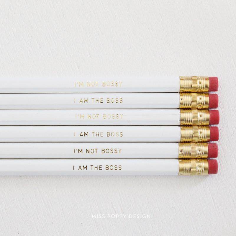 BOSSY PENCIL SET- WHITE - Miss Poppy Design