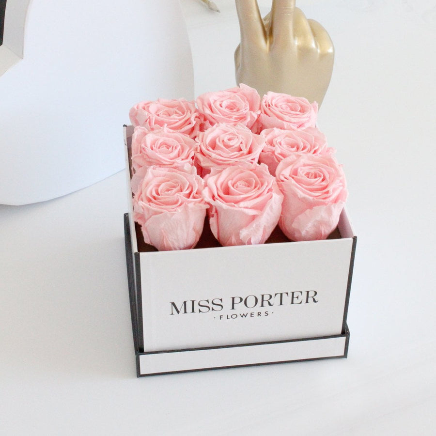 Forever Roses- Pink Roses in White Square Box