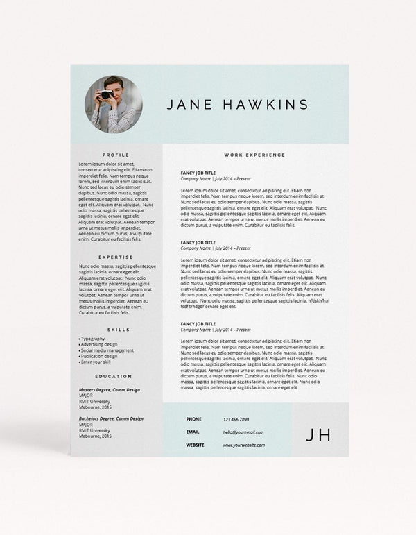 "Resume Template - ""Hello"" - Miss Poppy Design"