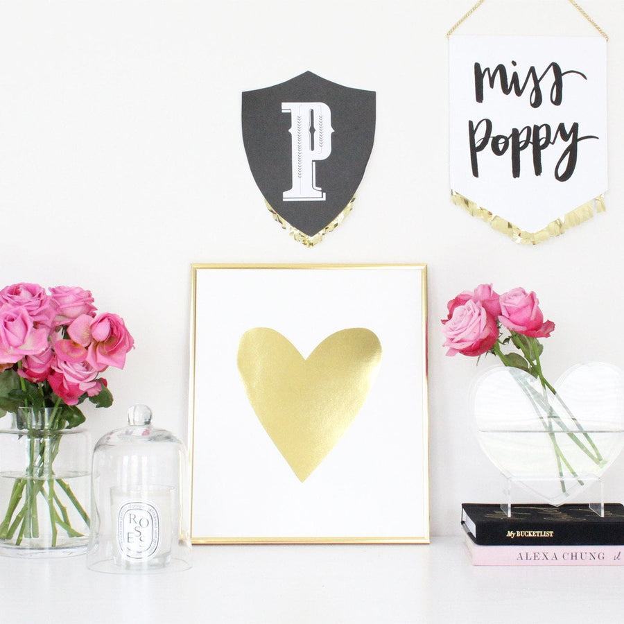 GOLDEN HEART (LARGE)- GOLD FOIL PRINT