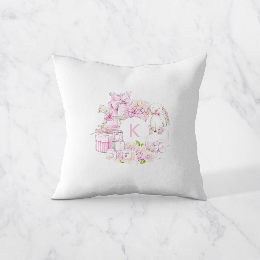 Baby Girl Initial- Personalised Cushion Cover - Miss Poppy Design