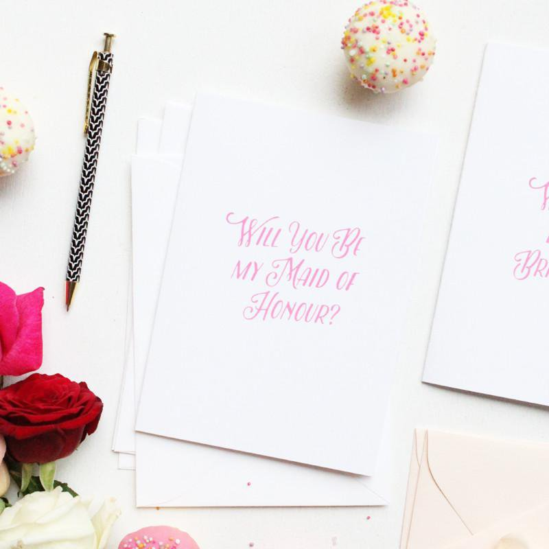 WILL YOU BE MY MAID OF HONOUR- CARD SET- PINK