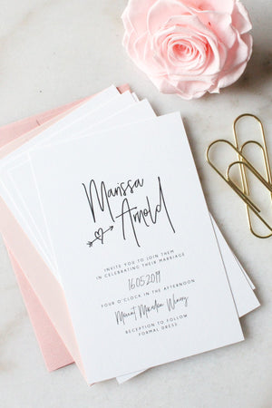 Wedding Invitation - Hearts and Arrows - Miss Poppy Design