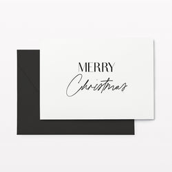 Merry Christmas Card Set w Charcoal Envelope