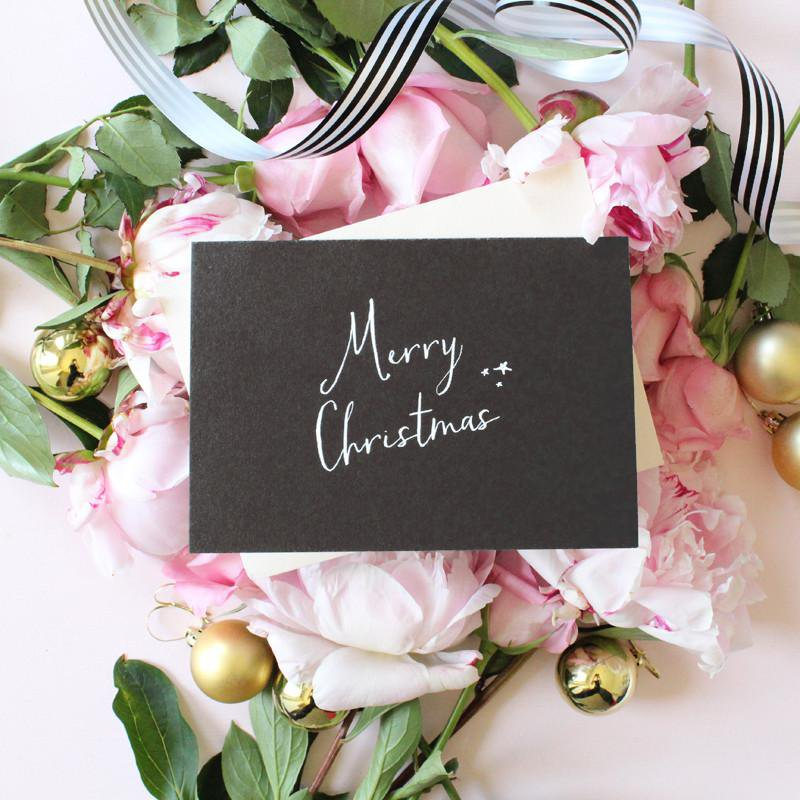 MERRY CHRISTMAS- CARD SET (BLACK)