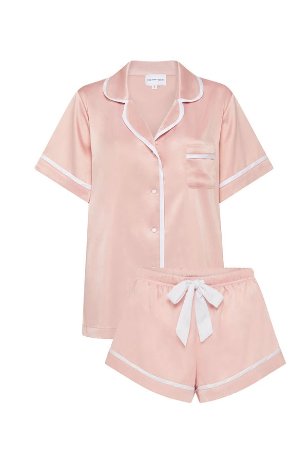 LUXE SATIN PERSONALISED PYJAMA SET - DUSTY ROSE/WHITE