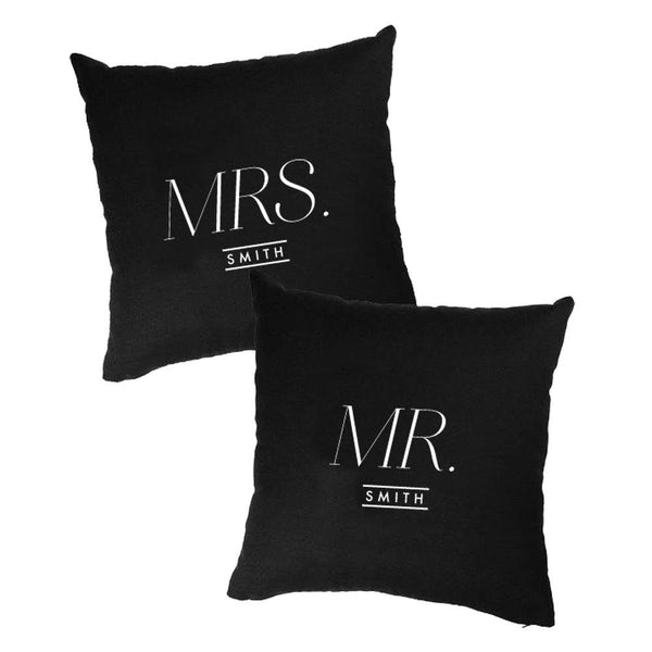 Monochrome Mr. and Mrs. Cushion Cover Set