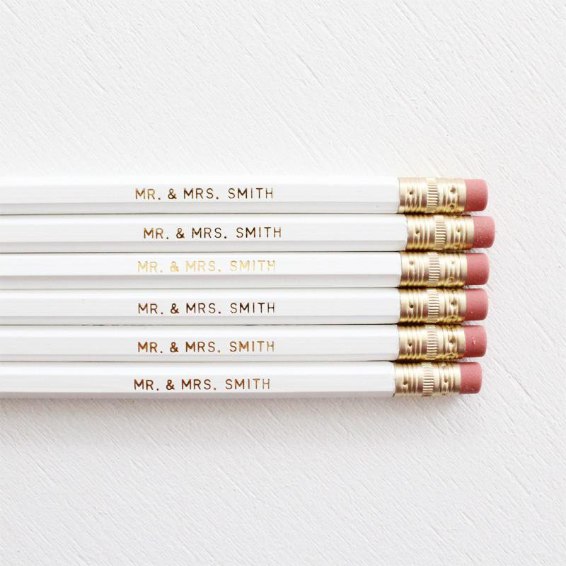 MR. AND MRS. PERSONALISED WEDDING PENCILS