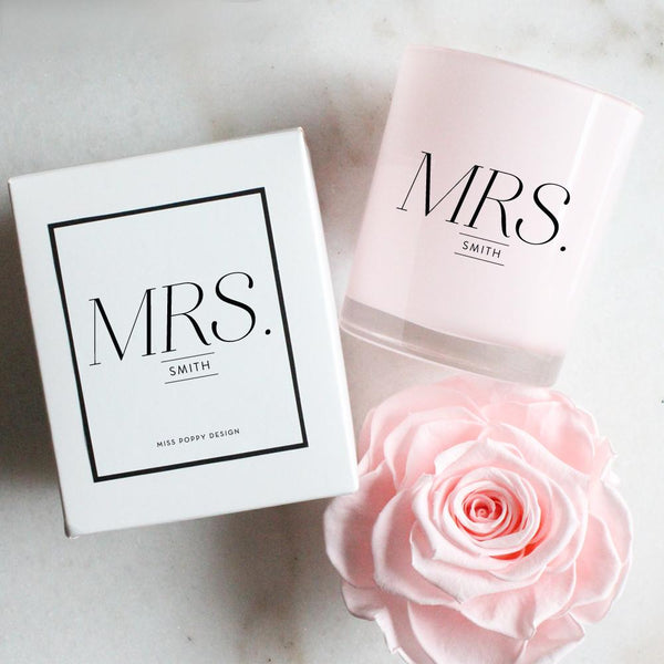 Personalised Mrs Soy Candle - Miss Poppy Design
