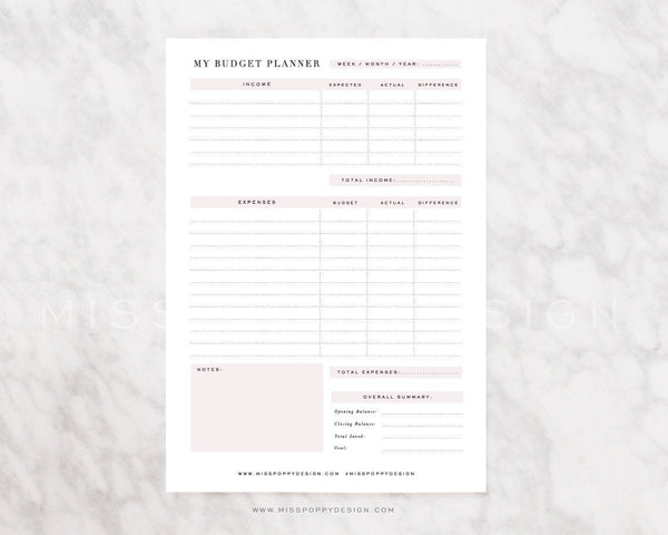 BUDGET PLANNER- PRINTABLE - Miss Poppy Design
