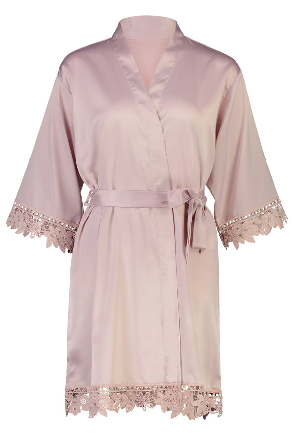 Lilah Lace Trim Robe Nude Pink