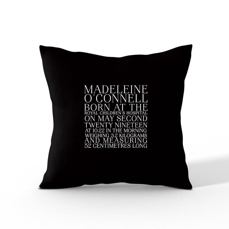 Birth Announcement- Personalised Cushion Cover