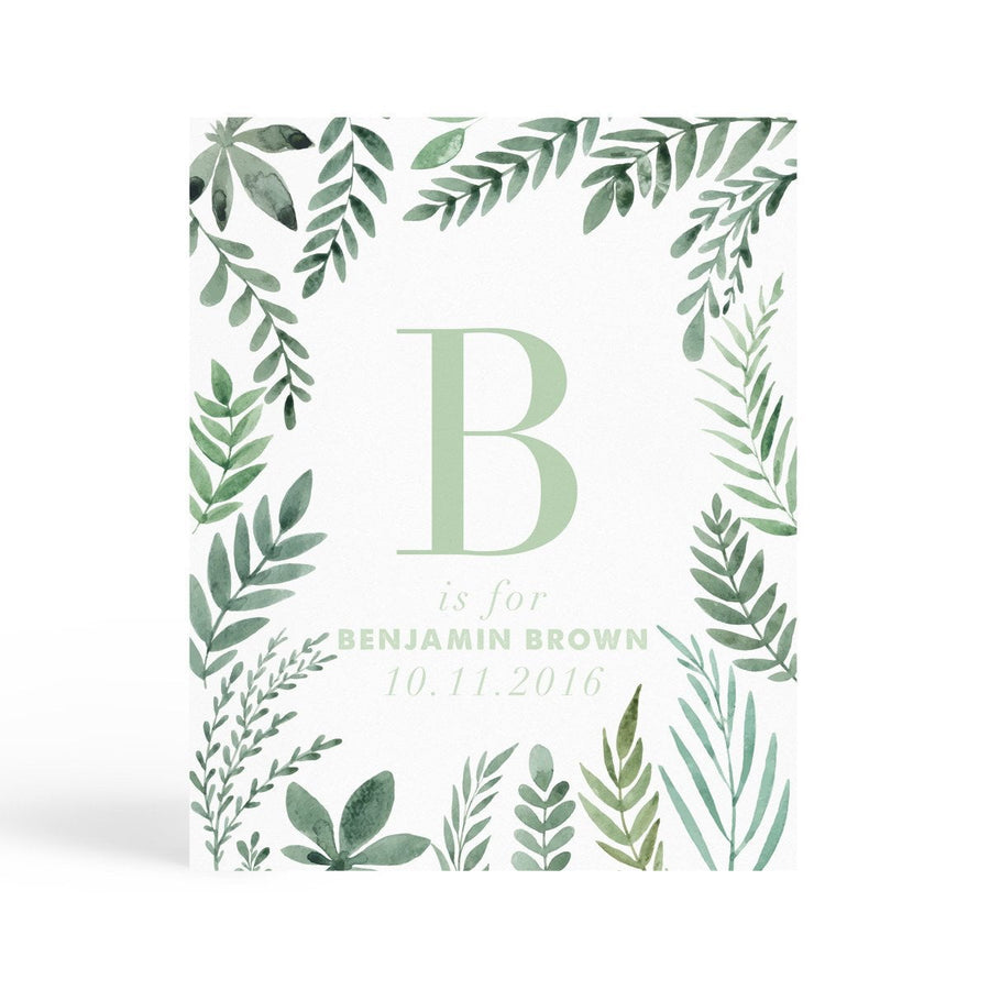 Personalised Nursery Print - Botanic - Miss Poppy Design