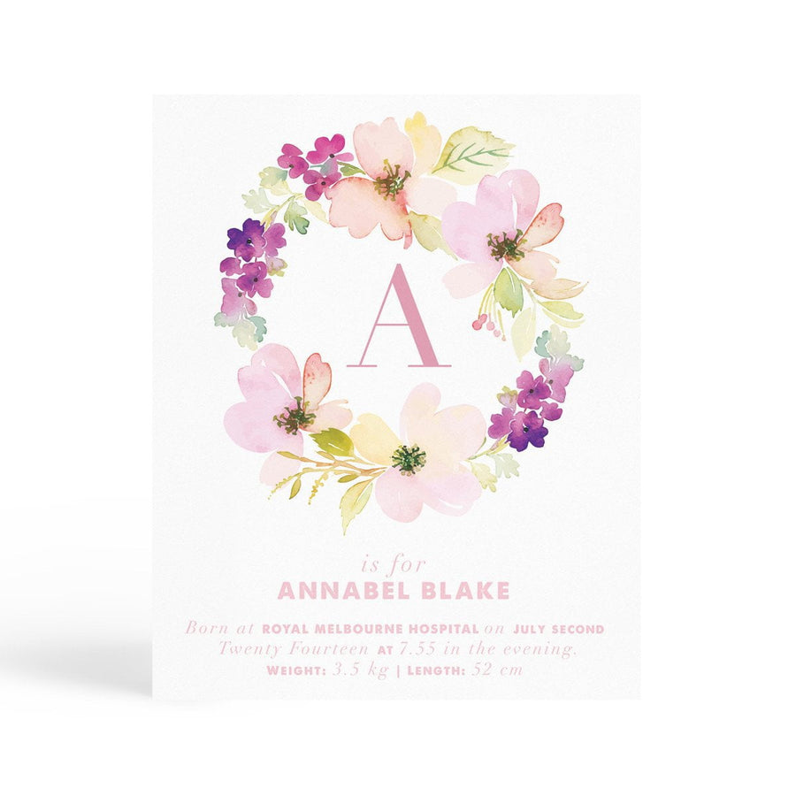 Personalised Nursery Print - Floral - Miss Poppy Design