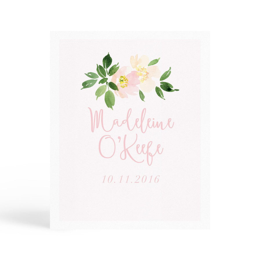 Personalised Nursery Print - Name & Date - Miss Poppy Design