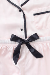 LUXE SATIN PERSONALISED PYJAMA SET - BLUSH/BLACK