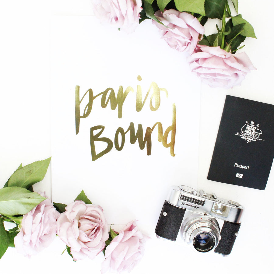 PARIS BOUND- GOLD FOIL PRINT