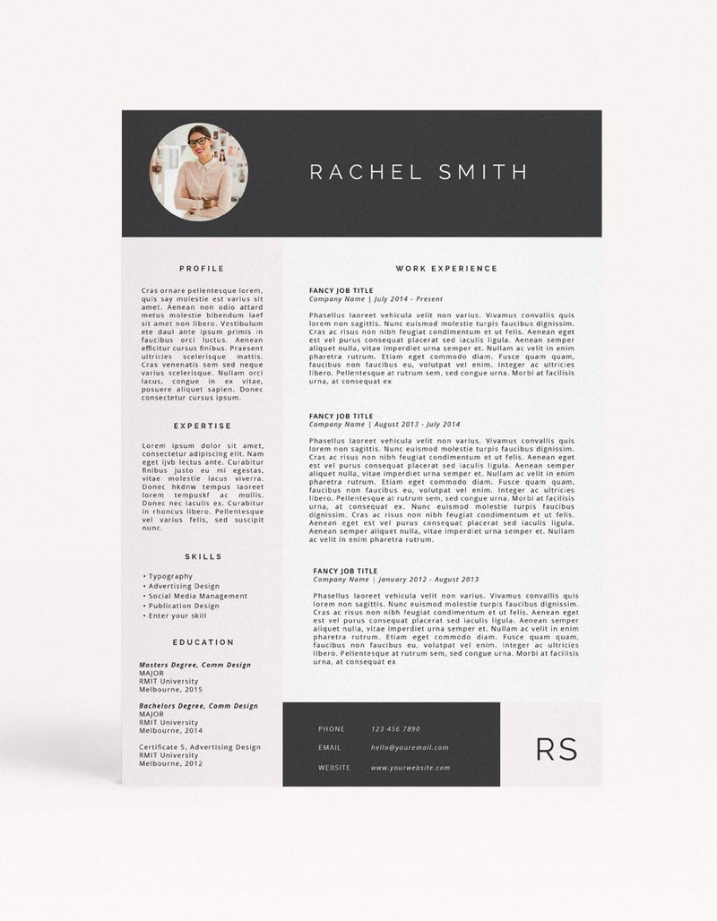"Resume Template - ""Rachel"" - Miss Poppy Design"