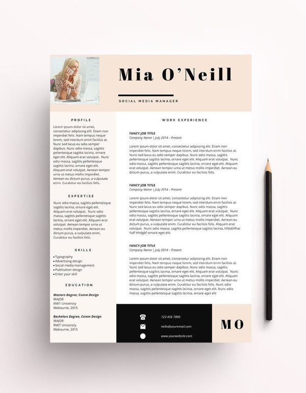 "Resume Template - ""Mia"" - Miss Poppy Design"