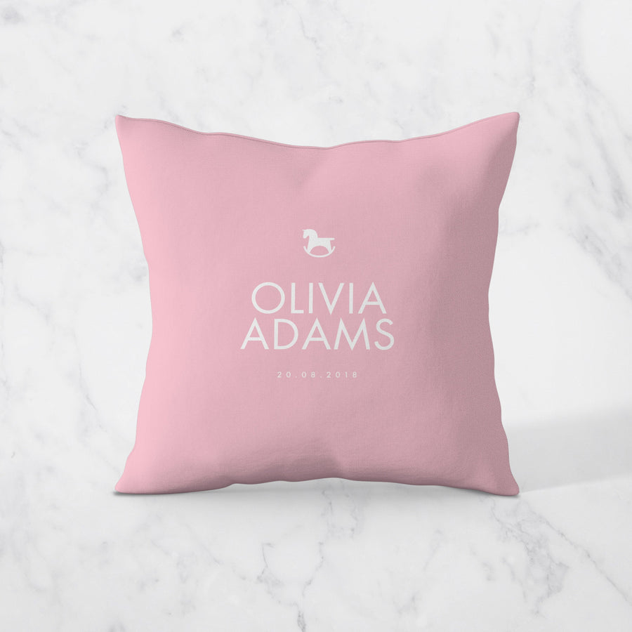 Rocking Horse- Personalised Cushion Cover - Miss Poppy Design