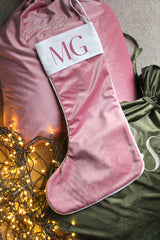 Personalised Velvet Christmas Stocking Rose