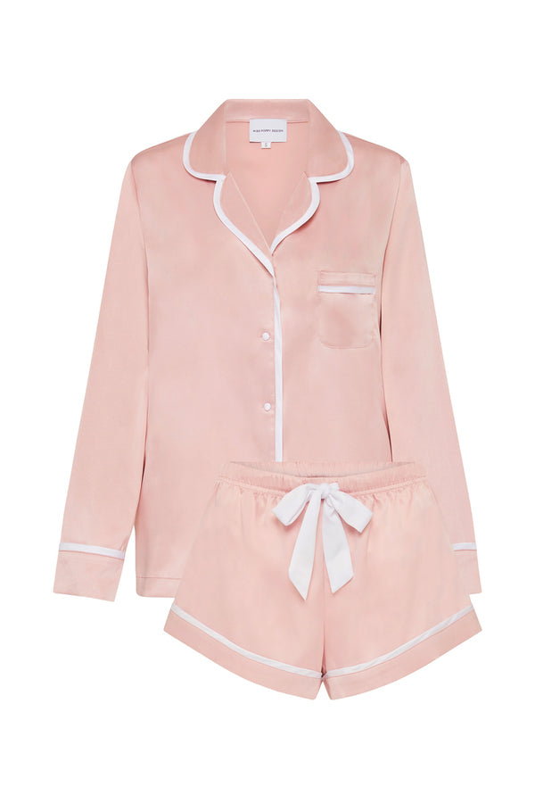 LUXE SATIN PERSONALISED PYJAMA SET - DUSTY ROSE/WHITE - LONG SLEEVE