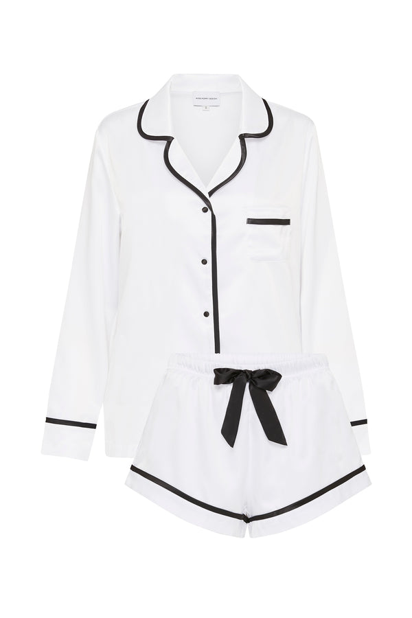 LUXE SATIN PERSONALISED PYJAMA SET - WHITE/BLACK - LONG SLEEVE