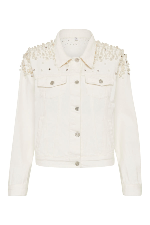 Customised Pearl Denim Jacket White