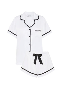 LUXE SATIN PERSONALISED PYJAMA SET - WHITE/BLACK incl embroidery