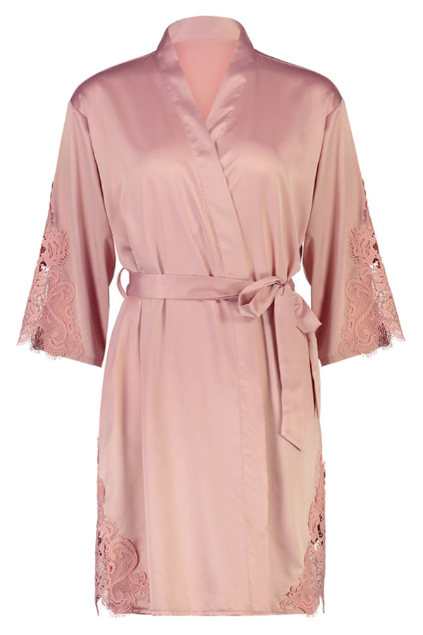 Sophie Lace Trim Robe Nude Pink