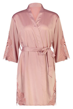 Personalised Sophie Lace Robe Dusty Pink