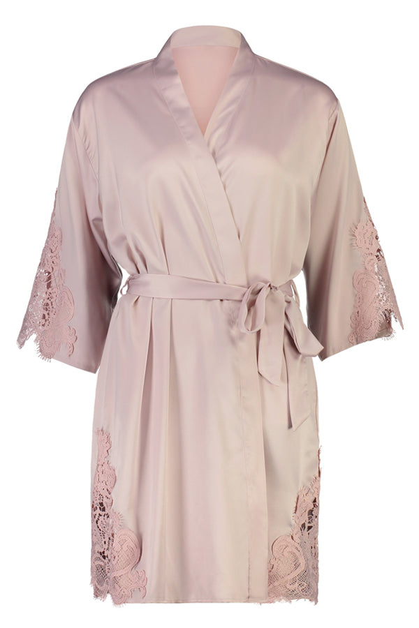 Personalised Sophie Lace Robe Nude Pink