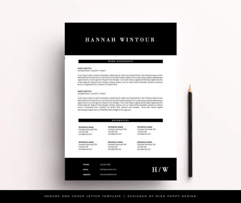 "Resume Template - ""Vogue"" - Miss Poppy Design"