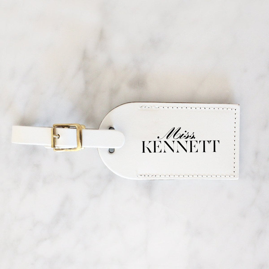 Personalised Travel Tag - Scripted White