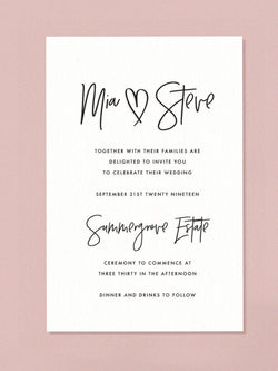Wedding Invitation - Lettered with Love- White Ink