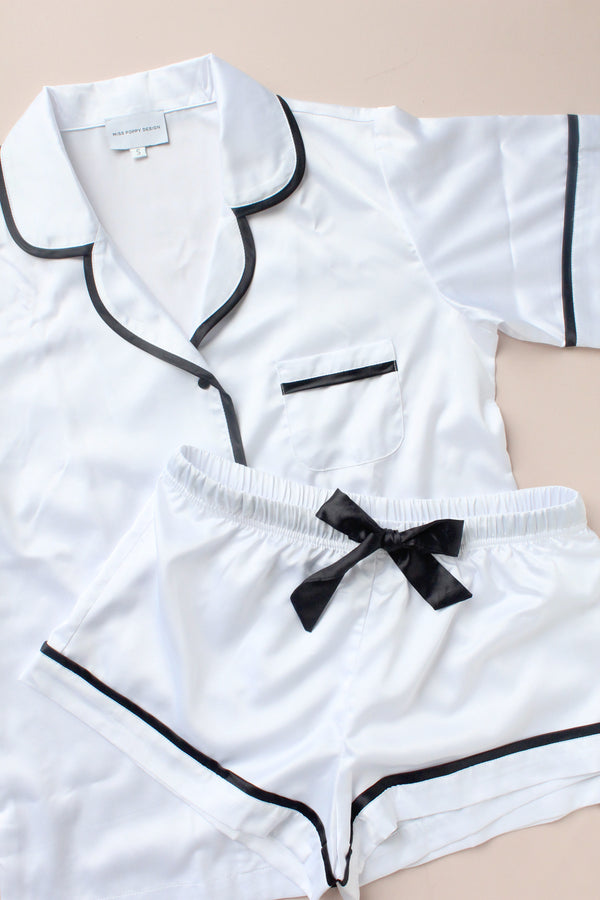 LUXE SATIN PERSONALISED PYJAMA SET - WHITE/BLACK