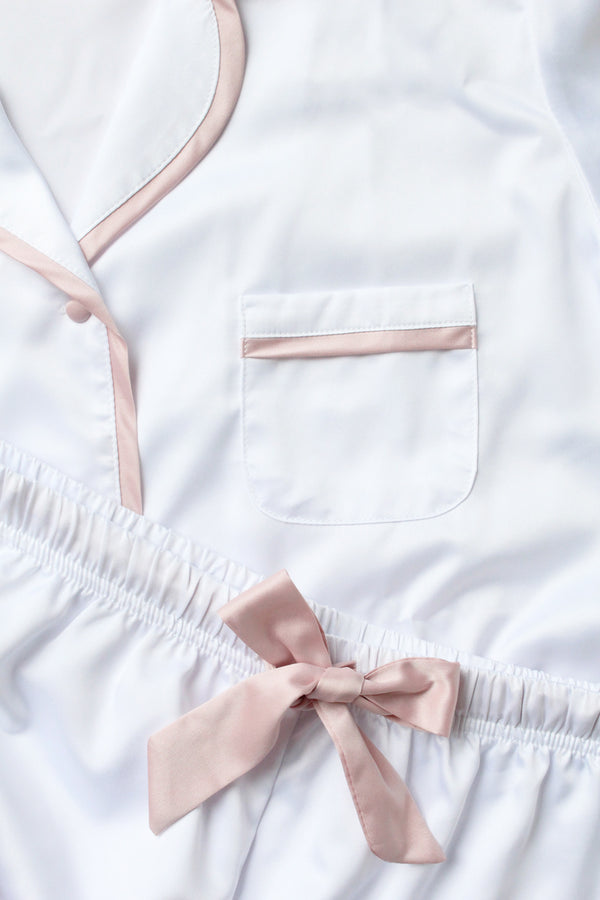 LUXE SATIN PERSONALISED PYJAMA SET - WHITE/DUSTY ROSE