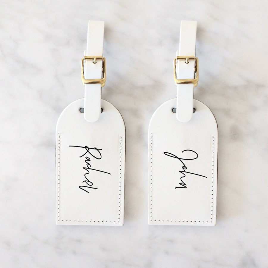Personalised Travel Tag Set- Handwritten- White