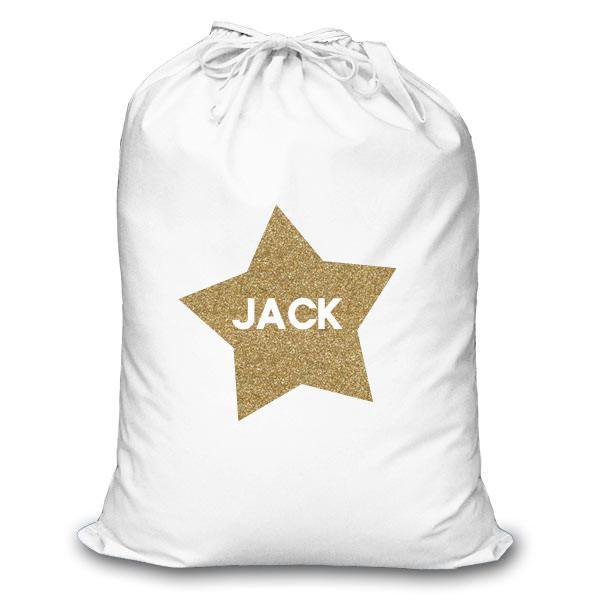 Personalised Christmas Sack - Gold Glitter Heart