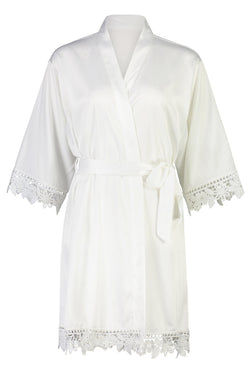 Personalised Lilah Lace Robe White